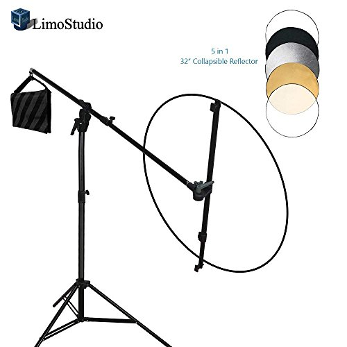 LimoStudio Swivel Reflector Support Holder Arm, 2 Way Rotatable Boom Stand Arm Bar with 32 Inch Diameter 5 Color in 1 Round Collapsible Reflector Disc Panel Boom Stand Kit, Sand Weight Bag, AGG2085 by LimoStudio