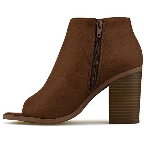 Premier Low Panel Side Premier Cognac – Boot Toe Heel Comfortable Bootie Walking Elastic Women's Ankle Standard Shoe Closed qHr17pqAg