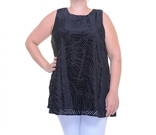 Alfani Womens Velvet Burnout Casual Top Black 14 from Alfani