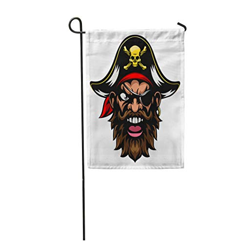 Semtomn Garden Flag Face Cartoon Mean Tough Looking Pirate Sports Mascot Character 28