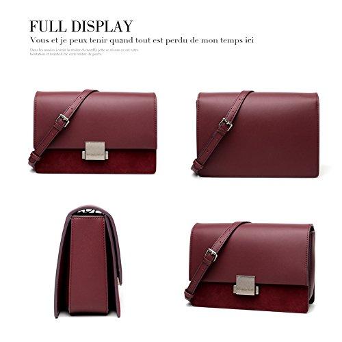 6d01b31cd666 Yoome Genuine Leather Message Bags for Women Elegant Clutch Wallet Fashion  Single Shoulder Bags - Burgundy