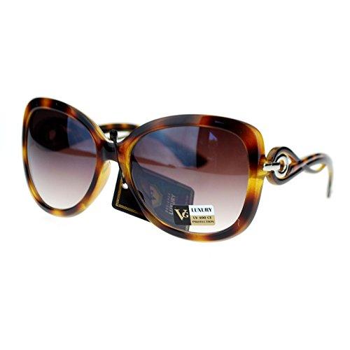 VG Eyewear Wavy Swirl Arm Large Coveage Butterfly Sunglasses - Swirl Sunglasses Arm