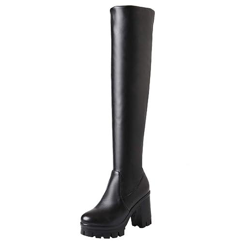 048939bc866 Artfaerie Women s Block High Heel Over The Knee Boots Platform Thigh High  Boots with Fur(