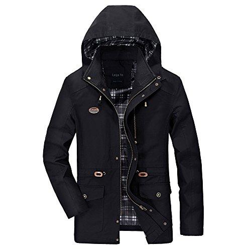Lega Men's Cotton Hooded Coat Zip Windbreaker Jacket Black (Wool Bomber Plaid)