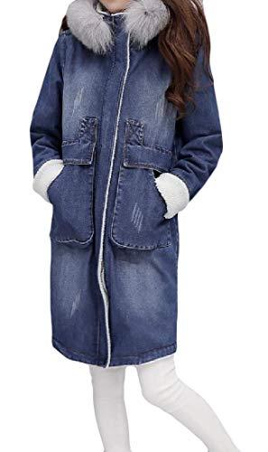 Cromoncent Women's Plus Size Fleece Winter Denim Hooded Outerwear Long Parkas Coat Denim Blue XL by Cromoncent