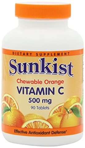 Sunkist Vitamin C 500mg Chewable Orange 90 Tablets (Pack of 2) - 90 Chewable Tabs