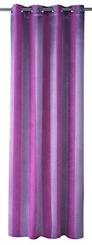 HomeMaison HM69311-6 Blackout Curtain Satin Stripes Polyester Plum 140 x 240 cm by Homemaison