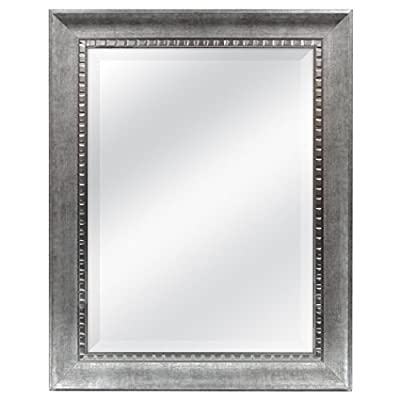 MCS 18x24 Inch Sloped Mirror, 23.5x29.5 Inch Overall Size, Silver (20563) - The 3 inch wide frame has a brushed antique silver finish with silver dentil molded inner edge Overall Measurements: 23.5 Inches x 29.5 Inches Reflection Measurements: 18 Inches x 24 Inches - mirrors-bedroom-decor, bedroom-decor, bedroom - 41Zs7i2nhIL. SS400  -