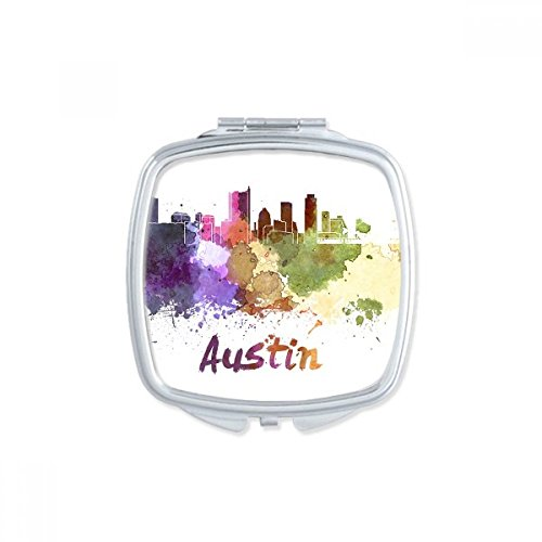 Austin America Country City Watercolor Illustration Square Compact Makeup Pocket Mirror Portable Cute Small Hand Mirrors Gift by DIYthinker