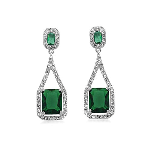 Jewelili Sterling Silver Octagon Simulated Green Emerald and Clear Crystal Long Dangle ()