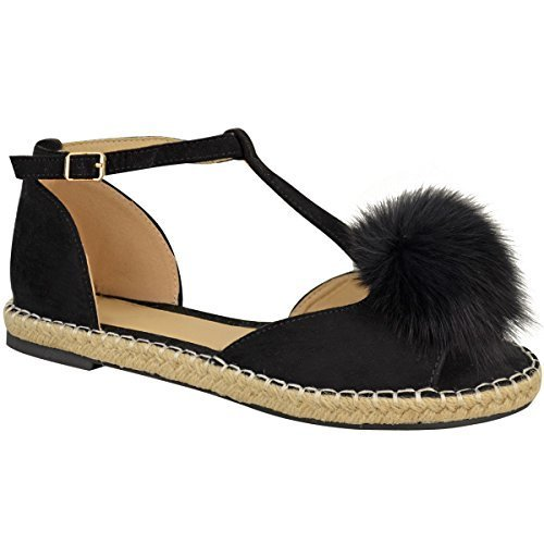 espadrilles bride noir style cheville plates Sandales corde femme à suède Faux pompon qF4EpxwxvX