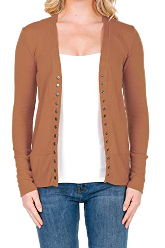 SHOP DORDOR 2039 Women's Button Down Long Sleeve Knit Cardigan Sweater Camel - Cardigan Camel