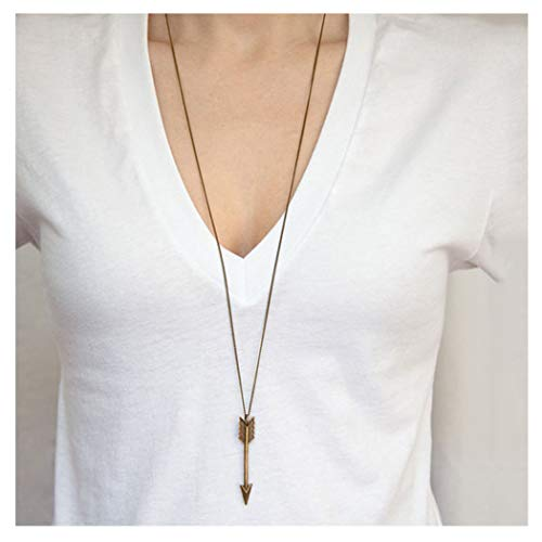 Tgirls Simple Long Chain Arrow Pendant Necklace for Women and Girls XL-49 (Bronze)