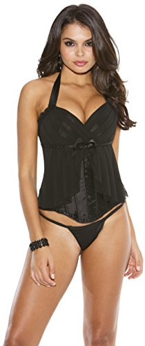 Hollywood Skirt Of Shirley - Shirley of Hollywood Padded Corset Top Flirty Skirt & G-String Black 32