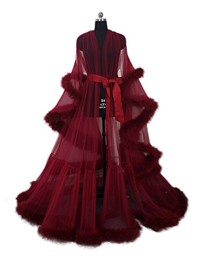 Sexy Feather Bridal Robe Tulle Illusion Long Wedding Scarf New Custom Made … (burgundy red) -