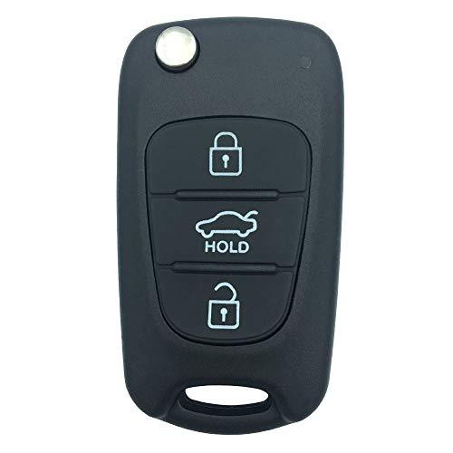 Keyless Remote Replacement Entry 3 Buttons Repair Flip Smart Remote Key Fob Shell Case for 2013 2014 Hyundai Santa Fe Keyless Professor