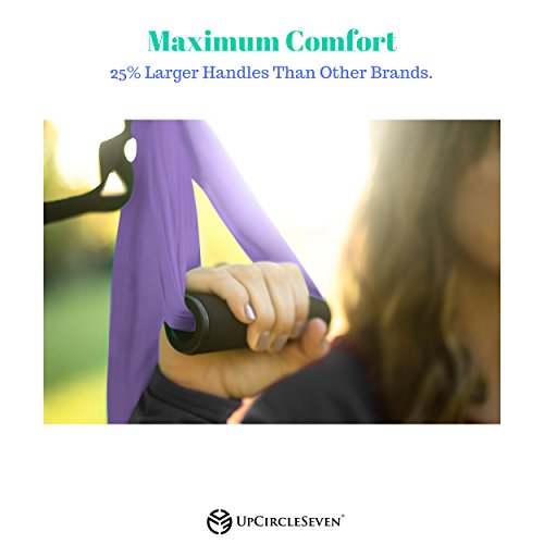 UpCircleSeven Aerial Yoga Swing - Ultra Strong Antigravity Yoga Hammock/Sling for Air Yoga Inversion Exercises - 2 Extensions Straps Included (Purple) by UpCircleSeven (Image #5)