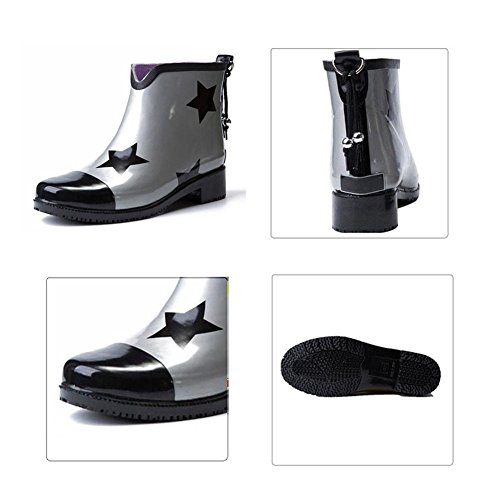 Wasser Kurzstiefel Damen Stiefeletten Schuhe Rutschfest Ladies Muster Stiefel Zhuhaixmy Gummistiefel Silver Sterne Regen Stiefel Mode Regen Schneestiefel OEvd1Wwq