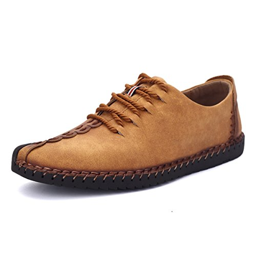 Suede Casual Shoes, Tezoo Men's British Style Handmade Classic Leather Oxford Flats Shoes, Casual Shoes, Lace-up Loafers, Flats Sneakers (10 US, Yello…