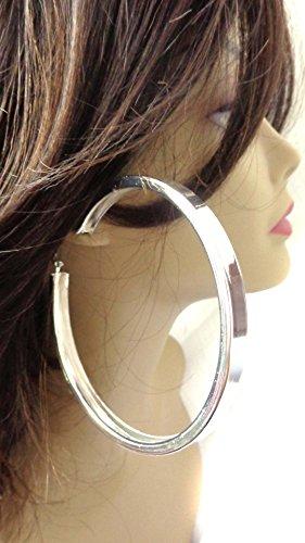 Large 4 Inch Silver Hoop Earrings Tube Hoop Silver Tone Earrings