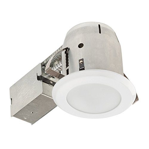 Globe Electric 90752 PAR20 E26 LED Integrated IC Rated Shower Lens Trim Recessed Lighting Kit Dimmable Downlight with Frosted Glass and Bulb Included, 4-Inch, White Finish by Globe Electric (Glass Electric Shower)