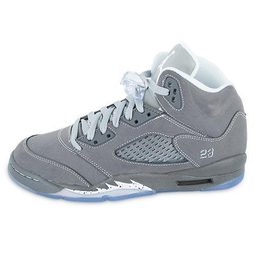 "Nike Air Jordan 5 Retro (GS) ""Wolf Grey"" Big Kids Basketball Shoes [440888-005] Light Graphite/White-Wolf Grey Boys Shoes 440888-005"
