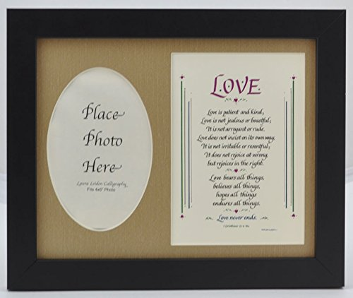 Love Is Patient Picture Frame Gift Poem Chapter Wedding Anniversary Husband Wife Spouse 1 Corinthians 13 (8x10 Burlap Mat - Black Frame)