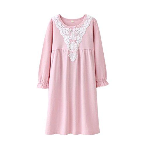 (DGAGA Kids Girls Cotton Lace Nightgown Bowknot Sleepwear Solid Pajama Nightshirt Pink 7-8)