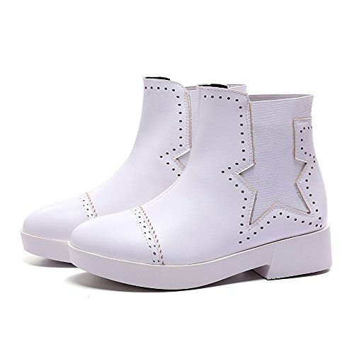AgooLar Damen Flaum Futter Niedriger Absatz Rund Zehe Rein Ziehen auf Stiefel Weiß