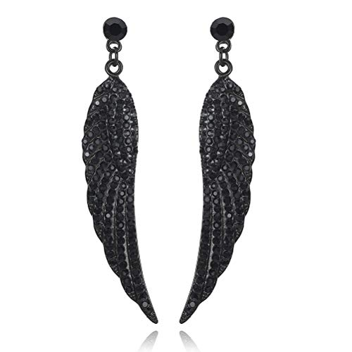 mecresh Vintage Angel Wing Black Austrian Crystal Drop Dangle Earrings for Women -