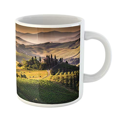 (Semtomn Funny Coffee Mug Green Olive Tuscany Italy Landscape Tree Italian Scenery Tuscan 11 Oz Ceramic Coffee Mugs Tea Cup Best Gift Or Souvenir)