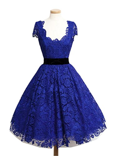 ALfany Fashion Women's Short Dress With Elegant Lace 2017 Evening Prom Party Dresses (US18W, Royal Blue)