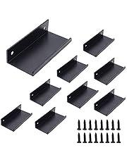 Set van 8 NUZAMAS keukenlip trekhandgrepen, aluminiumlegering, mat zwart, deurgrepen, verborgen vinger trekgreep voor thuis keuken deur ladekast, 8 cm