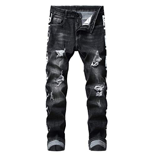 - NUWFOR Men's Fashion Slim Fit Personality Stretchy Casual Ripped Jeans Denim Pants(Black,US:33 Waist:33.86