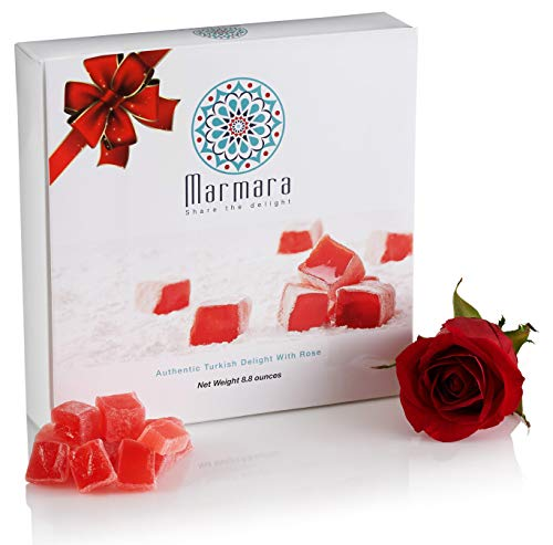 Marmara Authentic Mini Turkish Delight with Rose/Sweet Confectionery Gourmet Gift Box Candy Dessert, 8.8 Oz (Sweet Box Candy)