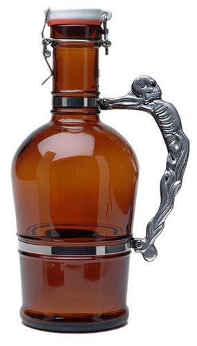2 L Growler Glass Swing Top Lid Knucklehead Fancy Metal Handle (Amber)