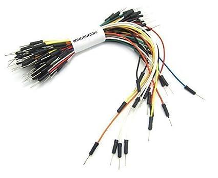 WINGONEER® 65pcs Sin Soldadura Flexibles Cables de Puente Protoboard Cable Macho a Macho Para Arduino