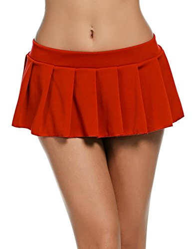 Goodfans Women Hot Stylish Fashion Sexy Schoolgirl Role Play Mini Pleated Plaid Skirt Lingerie (Red XL) (Sexy Girl School Charm)