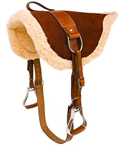 Western Bareback Pad (NEW WESTERN ENGLISH HORSE RIDING BAREBACK PAD PREMIUM TREELESS SADDLE LEATHER STIRRUPS COMFY HORSE SADDLE TACK (Brown))