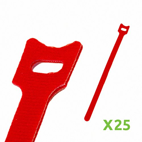 Free NavePoint 10 Inch Hook and Loop Reusable Strap Cable Cord Wire Ties 25 Pack Red