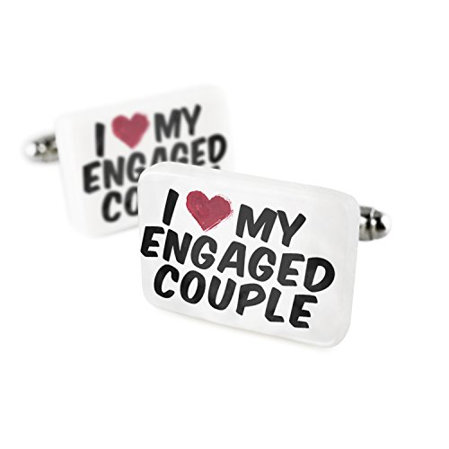 Cufflinks I heart love my Engaged Couple Porcelain Ceramic NEONBLOND by NEONBLOND
