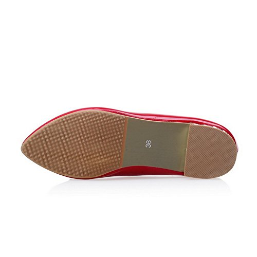 Amoonyfashion Donna Pull-on A Punta Chiusa Tacco Basso In Pu Pompe-scarpe Rosse