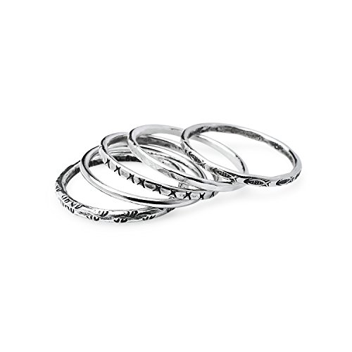 Five Gemstone Stack Rings - Five Piece Stackable Charm Sterling Silver Band Rings, Friendship Promise Rings Size 9