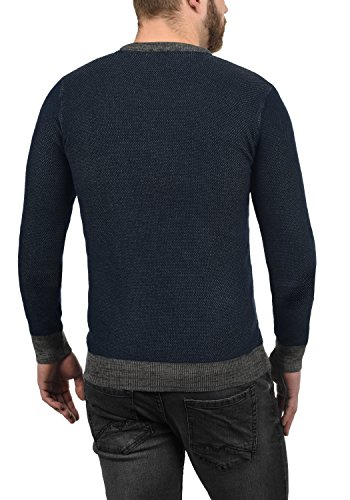 Punto Suéter Cuello 8991 Redondo De Hombre Para Insignia Raekwans solid Algodón 100 Con Blue Jersey Melange IxWqnUWt