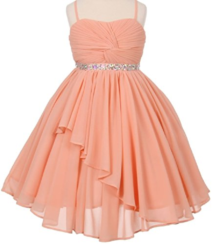 Big Girls' Elegant Hand Twist Ruffled Chiffon Flowers Girls Dresses Blush 14 (Chiffon Twist Dress)