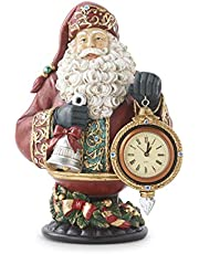 K&K Interiors 53489A 12 Inch Santa Bust On Stand Holding Clock, Red