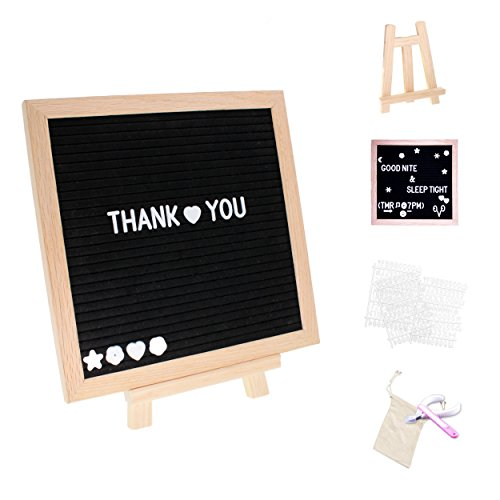 Felt Letter Board, Oak Wood Frame, 340 Changeable Letters, Numbers and Emoji, with Cutting Kit, Wooden Stand and Collection -