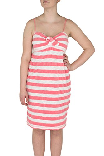 Twisted Heart Clothing Lounge Wear Coral Striped Terry Cloth Dress Swim Suit Cover (Large)