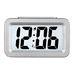 Hense Creative Smart Nightlight Alarm Clock Bedside Desk Table Electronic Clock Battery Operated Mute Luminous Alarm Clock with Adjustable Light for Kids Students HA35 (Silver)