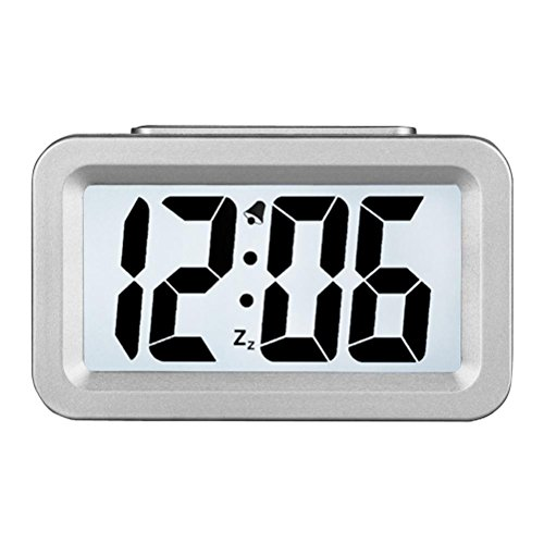 Hense Creative Nightlight Alarm Clock Bedside Desk Table Electronic Clock Battery Operated Mute Luminous Alarm Clock With Adjustable Light HA35 (Silver) - Square Desk Clock